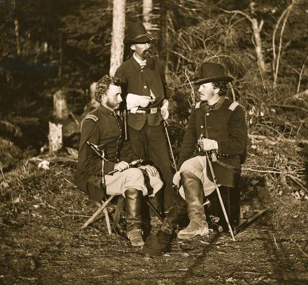 Lieutenants. George A. Custer, Nicolas Bowen, and William G. Jones 1863 (photo)