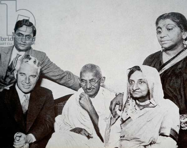 Mahatma Gandhi with Charlie Chaplin and Sarojini Naidu in London.