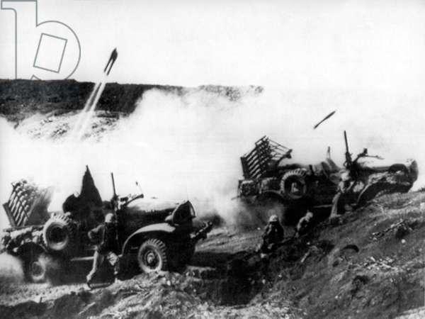 Battle At Iwo Jima (b/w photo)