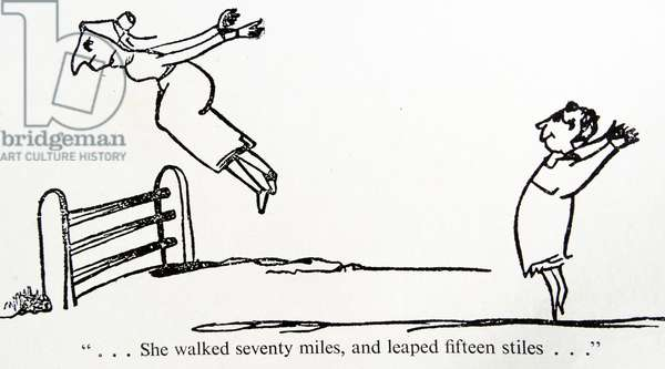 'She walked seventy miles and leaped seventy stiles' caracaters by Edward Lear