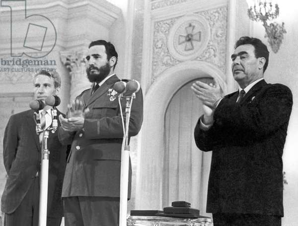 Fidel Castro Awarded Gold Star Medal And Lenin Order By Leonid Brezhnev In Moscow