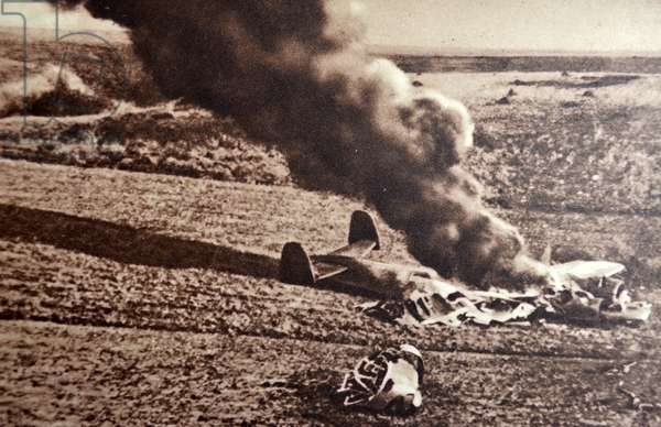 World War Two: A German Dornier plane is destroyed on a flight into France 1940