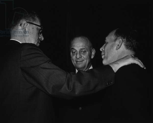 American scientist Seymour Kety with scientists James Shannon and Luther Terry at a National Institutes of Health (NIH) event, 1970 (b/w photo)