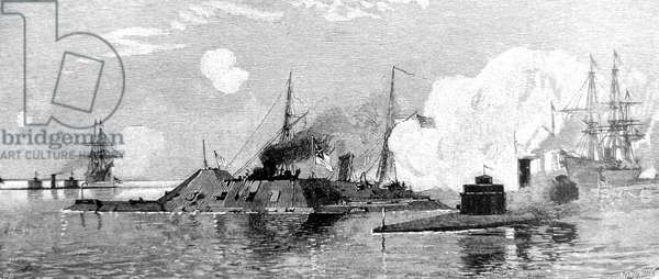 American Civil War-The Monitors capturing the iron clad ram Tennessee at the battle of Mobile Bay