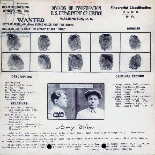 Fingerprints and photo of Lester Joseph Gillis