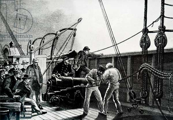 The transportation of the cables used in the Atlantic Telegraph.