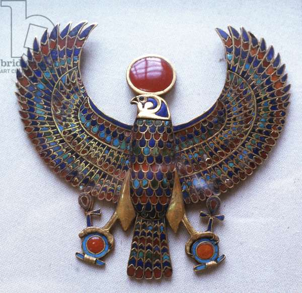Pectoral jewel from treasure of Tutankhamun showing falcon headed god with sun disk (Aton)