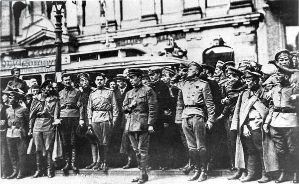 Petrograd, Russia, July 1917: Alexander Kerensky, Head of the Provisional Government, at the Funeral of Cossacks Killed in the Petrograd Riots.