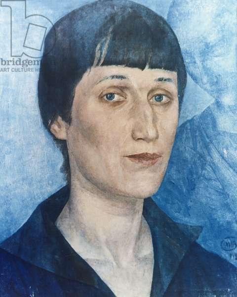 Portrait of Russian Poet Anna Akhmatova (1888-1966) by Petrov-Vodkin, 1922.