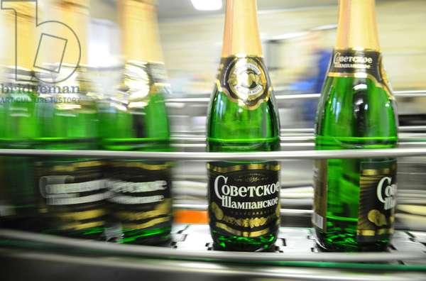 Moscow, Russia, November 29, 2010, Sovetskoye Shampanskoye Bottling Line at Kornet, a Moscow-Based Champagne Winery.