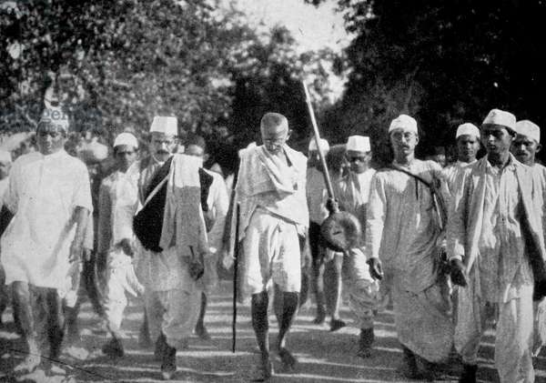 Scenes during Mahatma Gandhi's famous Salt March.