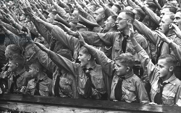 Nazi Rally with Hitler Youth members