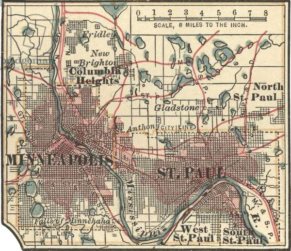 Map of Minneapolis, St. Paul and Minnesota