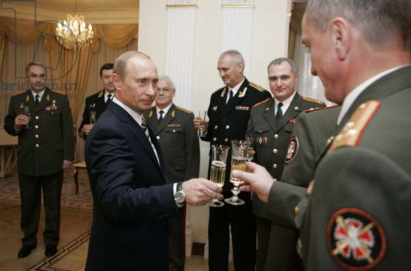 President of Russia Vladimir Putin (Foreground L) Holds Up a Glass for a Toast During a Ceremony of Passing the Awards, Posthumously Conferred on the Soviet Spy George Koval, to the Museum of Russia'S Main Intelligence Directorate (Gru), at Novo-Ogaryovo Residence, Moscow, Russia, November 2, 2007.