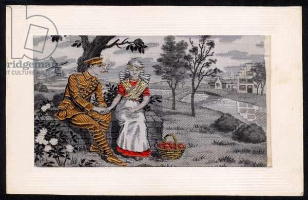 United Kingdom : A Woven Silk Postcard Produced in France During WW1. ©Past Pix/SSPL/UIG/Leemage