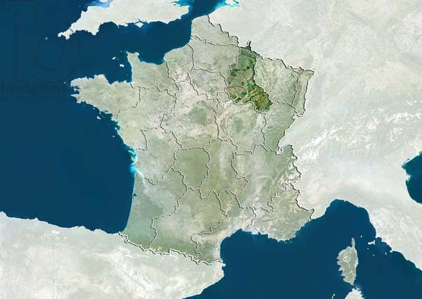 France and the Region of Champagne-Ardenne, True Colour Satellite Image