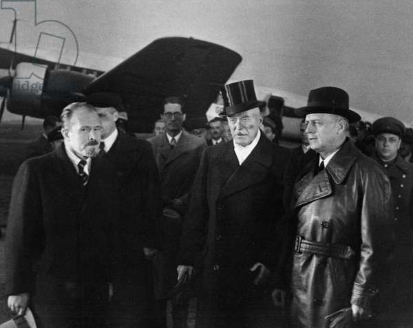 Treaty of Non-Aggression Between Germany and the Union of Soviet Socialist Republics, German Minister for Foreign Affairs, Joachim Von Ribbentrop (Right), Arrives at the Central Airport in Moscow on September 27, 1939, Next to him are Ambassador Herr Von Der Schulenburg and Chief of Protocol of the People'S Commissariat for Foreign Affairs of the USSR, V, Barkov (Far Left).