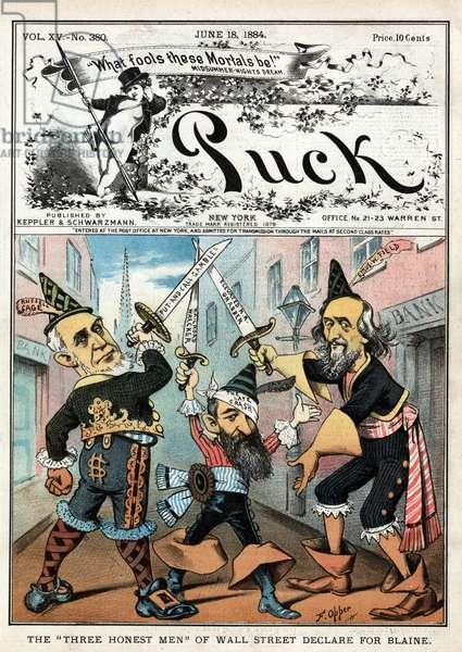"The ""three honest men"" of Wall Street declare for Blaine. By Frederick Burr Opper, 1884."