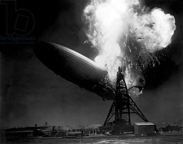 The Hindenburg In Flames (b/w photo)