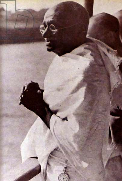 Mohandas Karamchand Gandhi crossing the Brahmaputra during his tour of India 1946