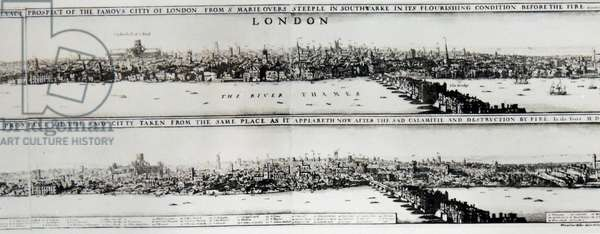 View of london before and after the 1666 Great fire.