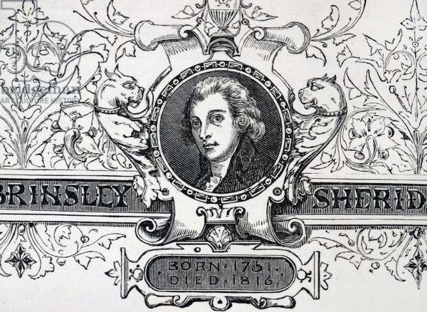 Engraved portrait of Richard Brinsley Sheridan