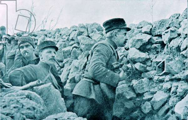 The French General Marchand inspects French positions in trenches