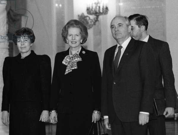 Mikhail Gorbachev, Wife Raisa Gorbacheva And British Prime Minister Margaret Thatcher In The Great Kremlin Palace