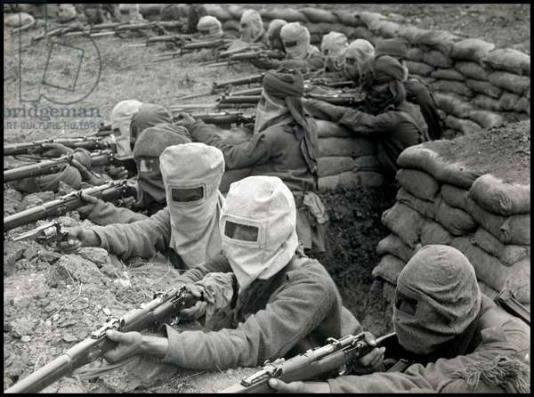 Indian infantrymen training for gas attacks
