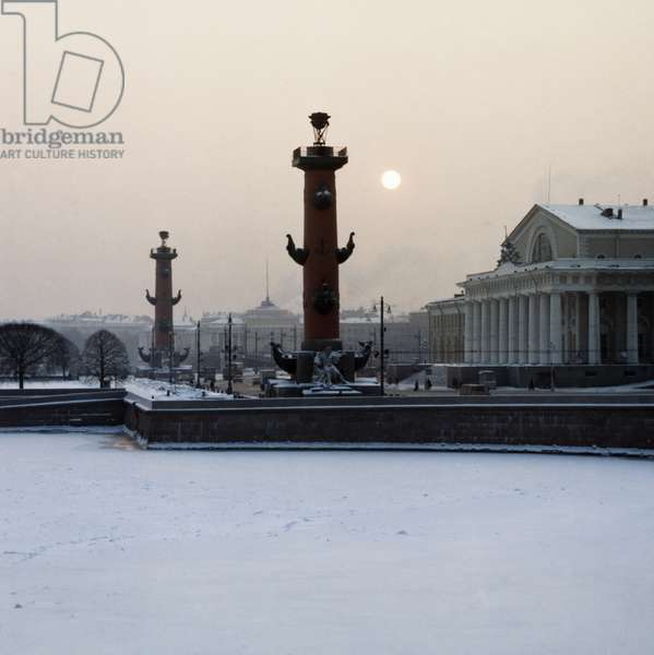Pushkin Square on Vasilevsky Island on the Neva River in Winter, St. Petersburg, Russia.