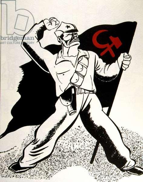 French anti - communist cartoon, Spanish Civil War
