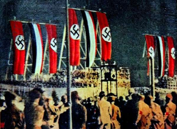 Night time Nazi rally at Templehoff airfield, 1930's