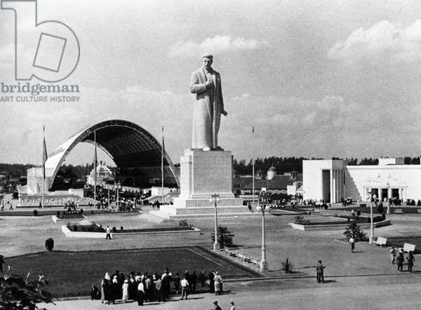 Monument to Joseph Stalin in Front of the Mechanization Pavillion of the All-Union Agricultural Exhibit in Moscow, 1941.