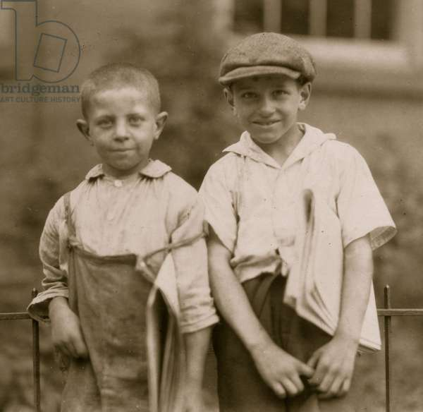 Two of the youngest newsboys in Hartford, Connecticut. They are cousins eight and ten years old. August 25, 1924. 1924 (photo)