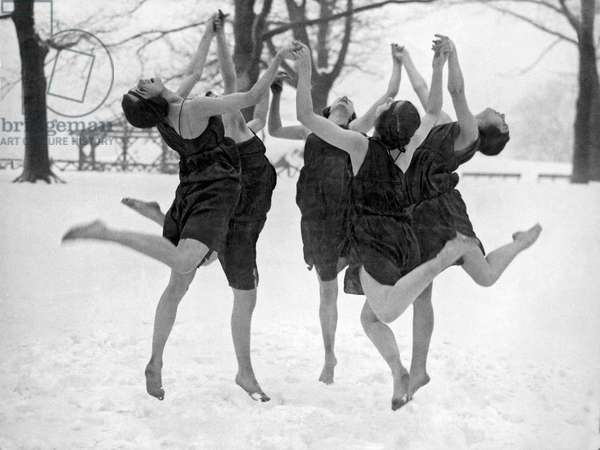 Barefoot Dance In The Snow (b/w photo)