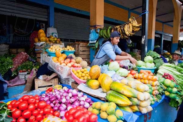 Produce Vendors at the Saturday Market, Otavalo, Imbabura, Ecuador (photo)