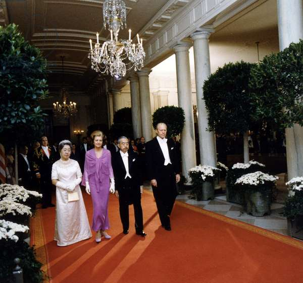 Emperor Hirohito of Japan with Empress Nagako visit President Gerald Ford and his wife Betty in Washington DC, 1975