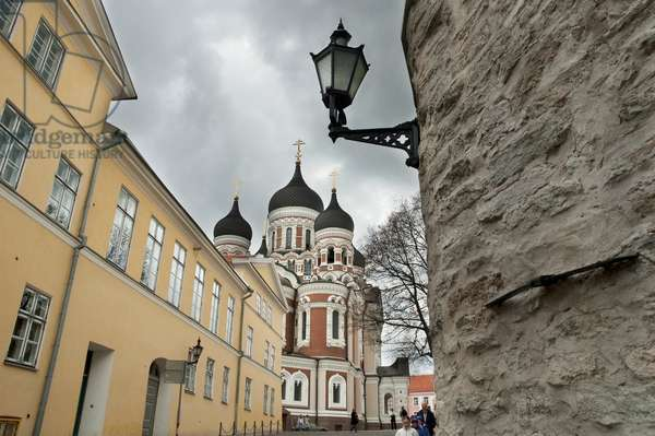 Group of People in Front of the Alexander Nevsky Cathedral in Tallinn, Estonia (photo)