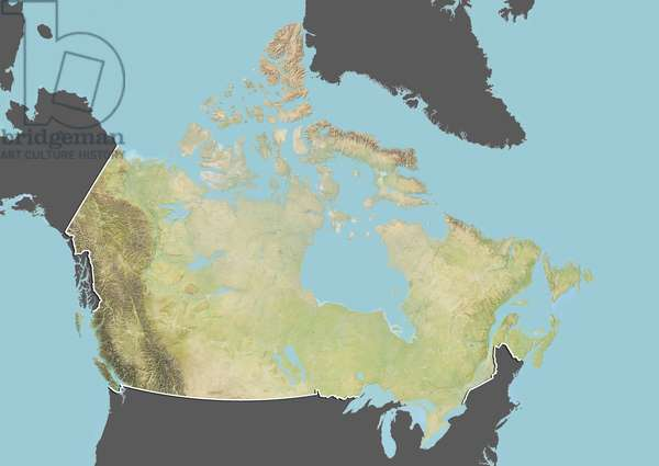 Canada, Relief Map With Border and Mask