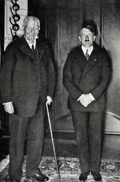 President Paul Von Hindenburg with Chancellor Adolf Hitler of Germany