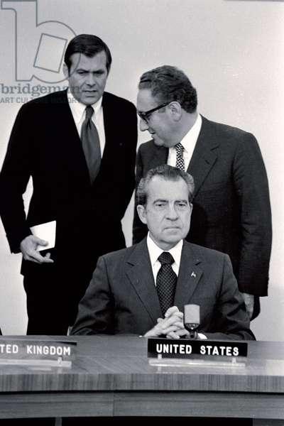United States President Richard Nixon and Dr. Henry Kissinger, with Donald Rumsfeld at a 1974 NATO needing. ©UIG/Leemage