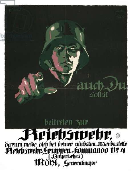 German propaganda poster encouraging enlistment Reichswehr.