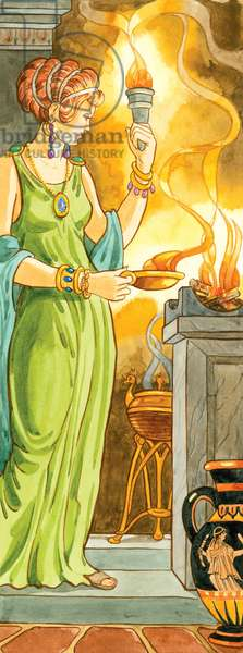 In Greek mythology, Hestia was the goddess of the hearth and one of the 12 Olympian deities ©Encyclopaedia Britannica/UIG/Leemage