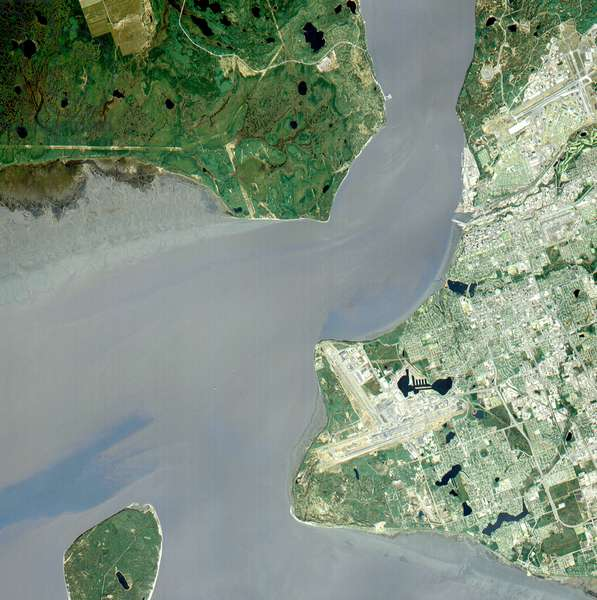 Anchorage, Alaska and Cook Inlet are seen in this sub-image, acquired May 12, 2000. Satellite image.