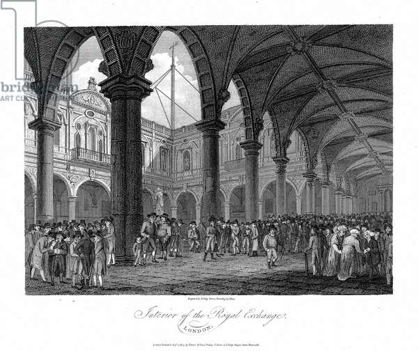 Royal Exchange London, late 18th century. This was the second Royal Exchange built after Gresham's original building was destroyed in the Fire of London, 1666. Copperplate engraving.