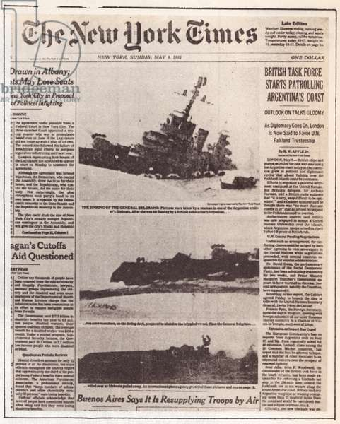 Falklands War-The New York Times, General Belgrano sunk