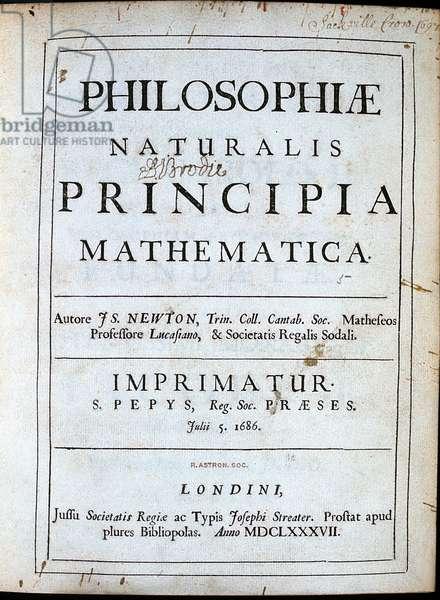 Isaac Newton (1642-1727) English scientist and mathematician. Title page of his Philosophiae Naturalis Principia Mathematica London 1687.