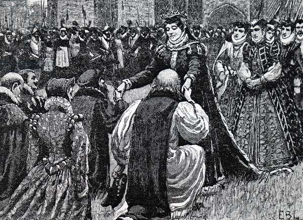 Mary, Queen of Scots being greeted by state prisoners.