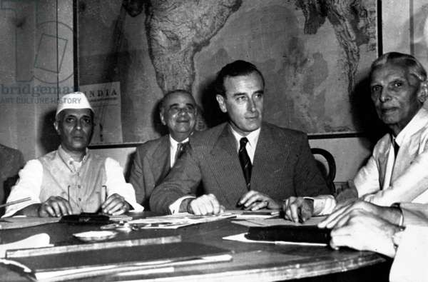 Muhammad Ali Jinnah, Lord Mountbatten and Pandit Nehru discuss partition of India.