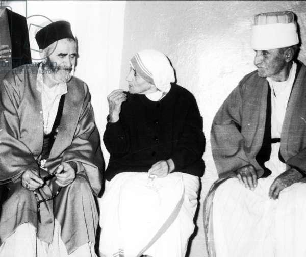 At Selimi (L), Mother Teresa And Bajram Plashniku (R) At The Ceremony Of Reopening Of The Moslem Bectashian Center In Tirana In April, 1991.